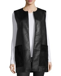 Neiman Marcus Leather Vest With Suede Pockets Black