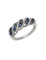 Lord And Taylor Sapphire Diamond 14K White Gold Riing Blue