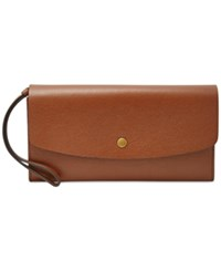 Fossil Haven Large Flap Leather Wallet Brown