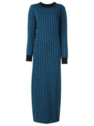 Marni Long Chevron Knit Dress Multicolour