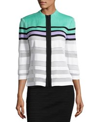 Ming Wang Stripe Print Zip Front Knit Jacket Mul