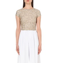 Alice Olivia Kelli Sequin Embellished Top Pale Gold