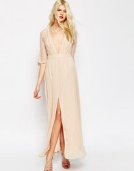 Asos Pleated Flutter Sleeve Maxi Dress Nude Pink