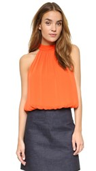 Alice Olivia Maris Gathered Halter Top Tangerine