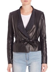Set Leather Tie Front Jacket Taupe Black