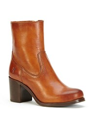 Frye Kendall Leather Ankle Boots Cognac
