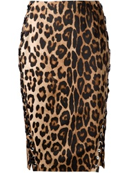 Altuzarra Leopard Print Pencil Skirt Brown