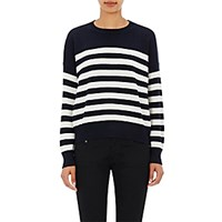 Saint Laurent Women's Striped Cashmere Sweater White