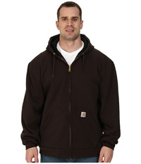 Carhartt Big Tall Rain Defender Rutland Thermal Lined Hooded Zip Front Sweatshirt Dark Brown Men's Sweatshirt