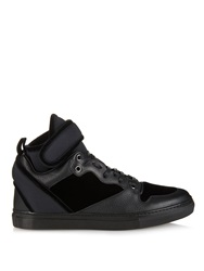 Balenciaga Velvet Leather And Neoprene High Top Trainers