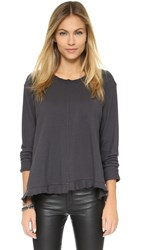 Wilt Big Ruffle Long Sleeve Tee Slate