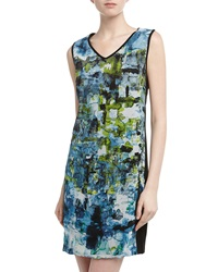 Isda And Co Sleeveless Watercolor Palette Print Dress Blue Green Black