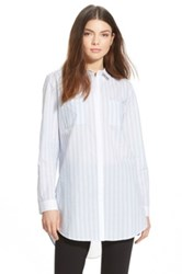 Trouve Trouve Stripe Split Back Shirt Blue