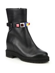 Fendi Rainbow Studded Leather Wedge Booties Black Multi