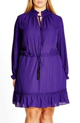 City Chic Plus Size Women's 'Miss Stevie' Ruffle Drawstring Tunic Royalty