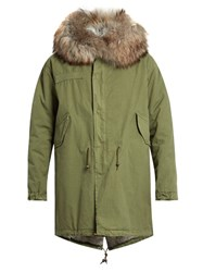 Mr And Mrs Italy Fur Lined Canvas Parka Green Multi