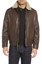 Missani Le Collezioni Men's Leather Jacket With Genuine Shearling Collar