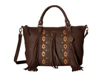 American West Chenoa Large Zip Top Convertible Satchel Chocolate Satchel Handbags Brown