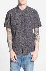 Obey 'Rhythm' Regular Fit Short Sleeve Print Woven Shirt Indigo