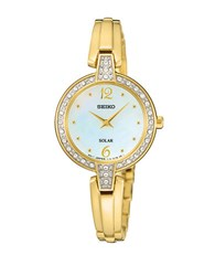 Seiko Sup290 Solar Goldtone Stainless Steel Crystal Bezel Watch