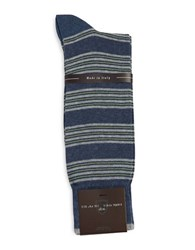 Black Brown Striped Cotton Blend Socks Denim