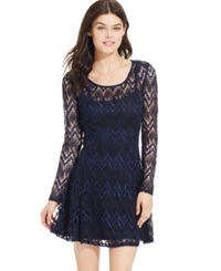 Speechless Juniors' Contrast Lace Fit And Flare Dress
