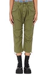 R 13 R13 Women's Slub Weave Cargo Harem Pants Dark Green