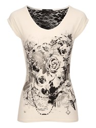 Jane Norman Lace Back Flower Print T Shirt White