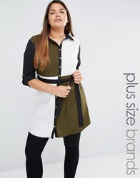Ax Paris Plus Colourblock Shirt Dress Multi