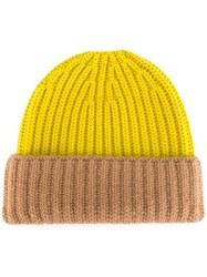 Danielapi Ribbed Folded Beanie Yellow And Orange