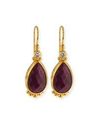 Elements 24K Gold Constantine Ruby Teardrop Earrings Gurhan Red