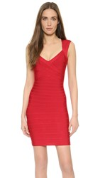 Herve Leger Sarai Sleeveless Dress Lipstick Red