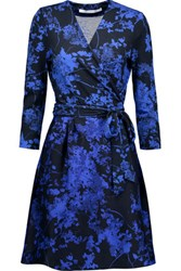 Diane Von Furstenberg Valerie Printed Wool And Silk Blend Wrap Dress Royal Blue