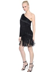 Dsquared Fringed Micro Pique Jersey Dress
