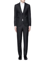 Armani Collezioni 'Metropolitan' Satin Peak Lapel Wool Jacquard Tuxedo Suit Black