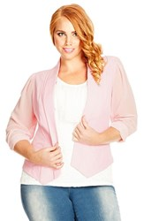 Plus Size Women's City Chic Chiffon Sleeve Blazer Baby Pink