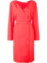 Nina Ricci Belted Wrap Dress Pink And Purple