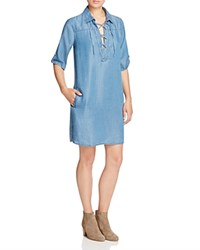 Alison Andrews Lace Up Chambray Shirt Dress Medium Indigo