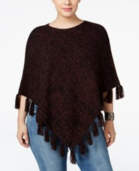 Styleandco. Style Co. Plus Size Fringe Poncho Sweater Only At Macy's Dried Plum Deep Black