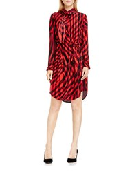 Vince Camuto Belted Check Tie Neck Shirtdress Red