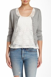 Wild Pearl Scoop Neck Cropped Cardigan Juniors Gray