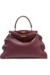 Fendi Peekaboo Medium Ruffle Trimmed Leather Tote Burgundy