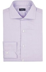 Finamore Men's Micro Plaid Polished Poplin Shirt Light Purple