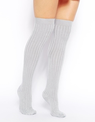 American Apparel Ribbed Modal Over The Knee Socks Mediumgrey