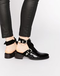 Daisy Street Cut Out Buckle Western Ankle Boots Black