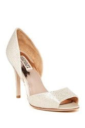 Badgley Mischka Mitzi Satin D'orsay Peep Toe Pump White