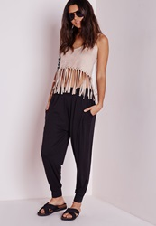 Missguided Jersey Harem Trousers Black Black