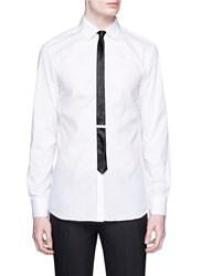 Neil Barrett Eco Leather Tie Poplin Shirt White
