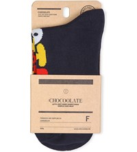 Chocoolate Patterned Ankle Socks Navy