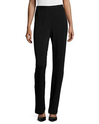 Caroline Rose Flat Knit Wool Pants Black Women's